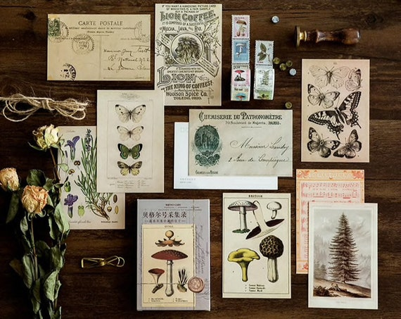 Vintage Style Postcards by MO•Card for Scrapbooking - Set of 30 Retro Antique Style Cards for Journaling, Notebooks, Paper Crafts
