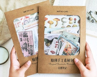 Material Packs by MO•CARD - Vintage Style Paper and Sticker Sets for Art Journaling, Junk Journals, Notebooks, Paper Crafts, Reproductions