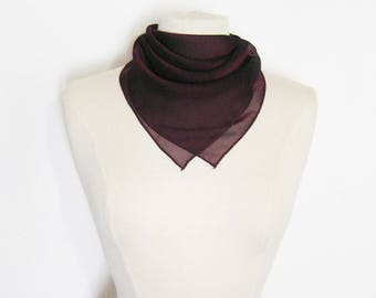 Square scarf or bag suit in dark purple aubergine plum chiffon