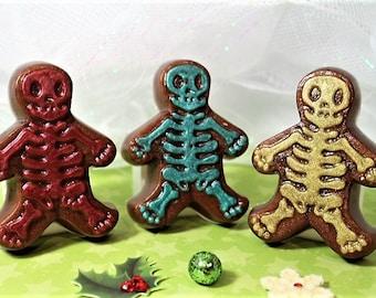 Gingerbread Skeleton Soap, Christmas Soaps, Christmas Favor Soaps, Christmas Guest Party Soaps, Gingerbread  Man Soap, Stocking Stuffers