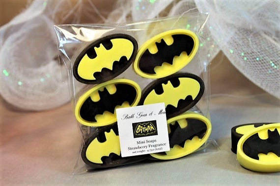 Batman Soap Gift Bag 6 Favors Theme