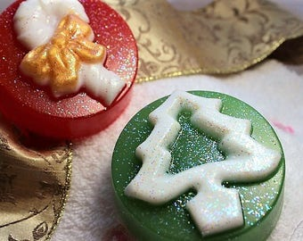 Christmas Soap, Christmas Tree Soap, Candy Cane Favor Soap, Stocking Stuffer, Christmas Guest Soap, Holiday Party Favors, Decorative Soaps
