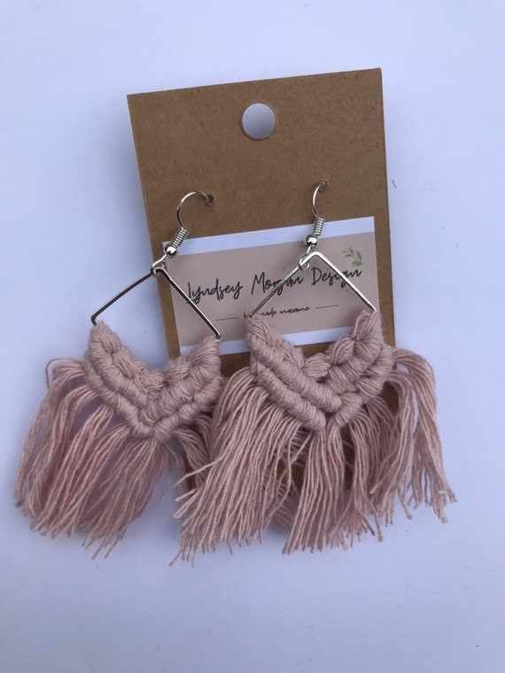 Handmade Blush Pink Macrame Earring