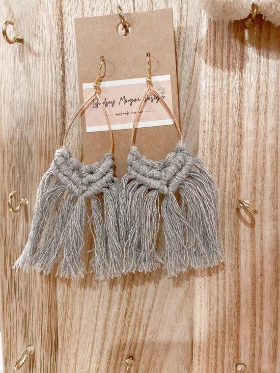 Medium Gray Macrame Earrings