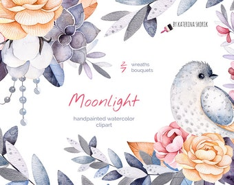 Moonlight. Handpainted watercolor collection.
