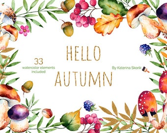 Hello, Autumn. Watercolor collection
