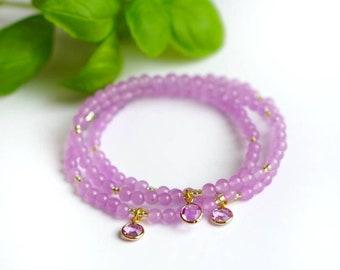 LAVENDER Bracelet   Lavender Jade, Crystal Charm   Mindful Jewelry   Coco & Lime