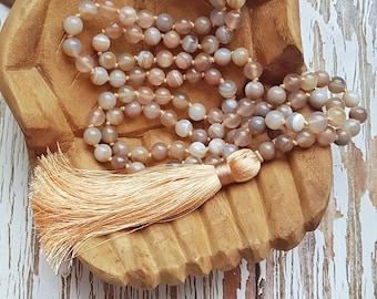 JOURNEY INSIDE Mala   108 Mala Beads   Yoga Mala Necklace   Boho Jewelry   Botswana Agate   Mindful Jewelry