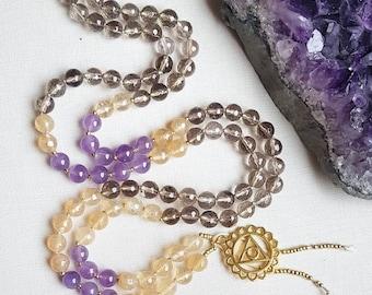 DIVINE DREAMER Mala   108 Mala Beads   Yoga Mala Necklace   Amethyst, Citrine, Smoky Quartz   Mindful Jewelry