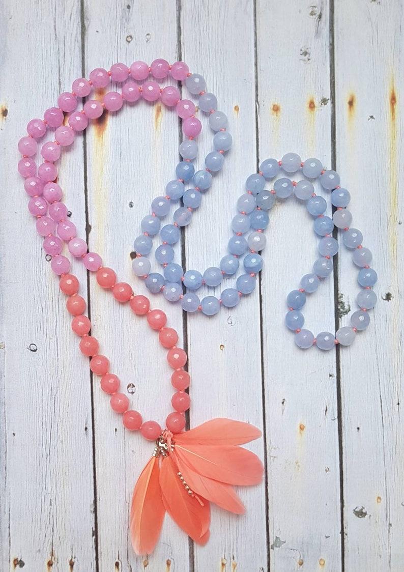 BIRD OF PARADISE Mala Yoga Mala Necklace Pink /& Lilac Jade * Feathers Boho Jewelry Mindful Jewelry 108 Mala Beads Blue