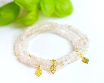 BLOSSOMING LOVE Bracelet   Rosequartz, Golden Leaf Charm   Mindful Jewelry   Coco & Lime