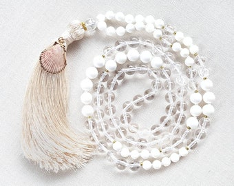 DIVINE MOTHER Mala   108 Mala Beads   Yoga Mala Necklace   Boho Jewelry   Crystal Quartz, Shell Pearl   Coco & Lime