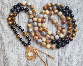 SHIELD OF RA Mala   108 Mala Beads   Yoga Mala Necklace   Boho Jewelry   Tiger Eye, Obsidian, Crazy Lace Agate   Chakra Jewelry