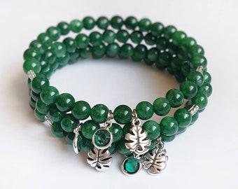 GROW Bracelet   Dark Green Jade   Silver Leaf & Green Crystal Charm   Mindful Jewelry   Gemstone Bracelet   Coco and Lime