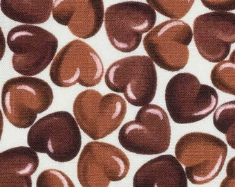 Chocolate hearts fabric SK184