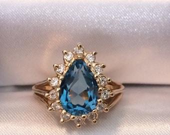 Swiss Blue Topaz Pear/Teardrop-Shaped 14KT Gold Ring