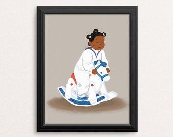 Rocking Horse Illustration / Carefree Black Girl Art Print