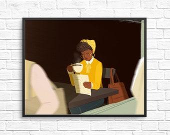 Morning Coffee Illustration / Carefree Black Girl Art Print