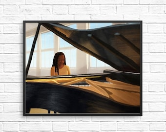Piano Practice Illustration / Carefree Black Girl Art Print