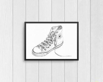 ae4b7f30b0ccf4 Converse Chuck Taylor Classic Art Print from Original Ink Drawing