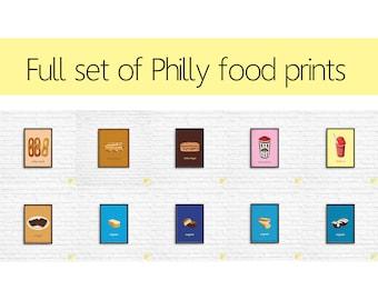 Full Set of Ten Philly Food Art Prints