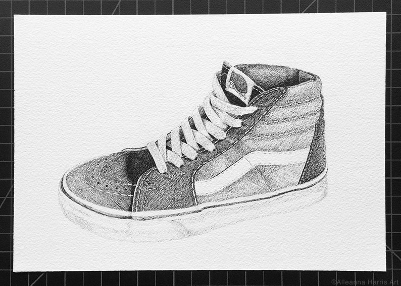6d91f13b9d5a24 Vans Sk8 Hi Original Ink Drawing