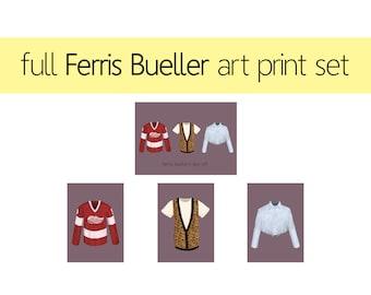 Full Set of Ferris Bueller Art Prints / Ferris Bueller's Day Off Illustration Set