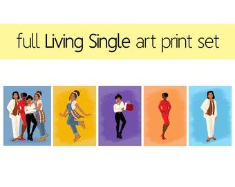 Full Set of Five Living Single Art Prints
