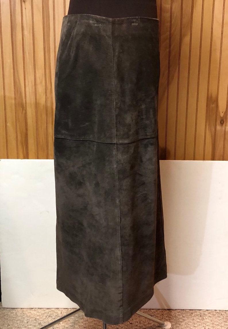 2b2715d56d Vintage Ann Taylor Long Midi Brown Suede Skirt with Back Slit   Etsy
