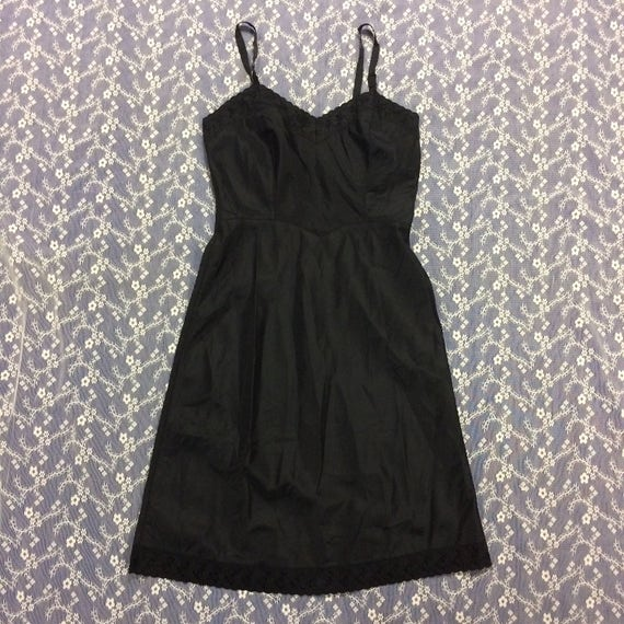 8e934df1d44 Vintage 1950s Barbizon Ariel Tafredda Black Full Slip with