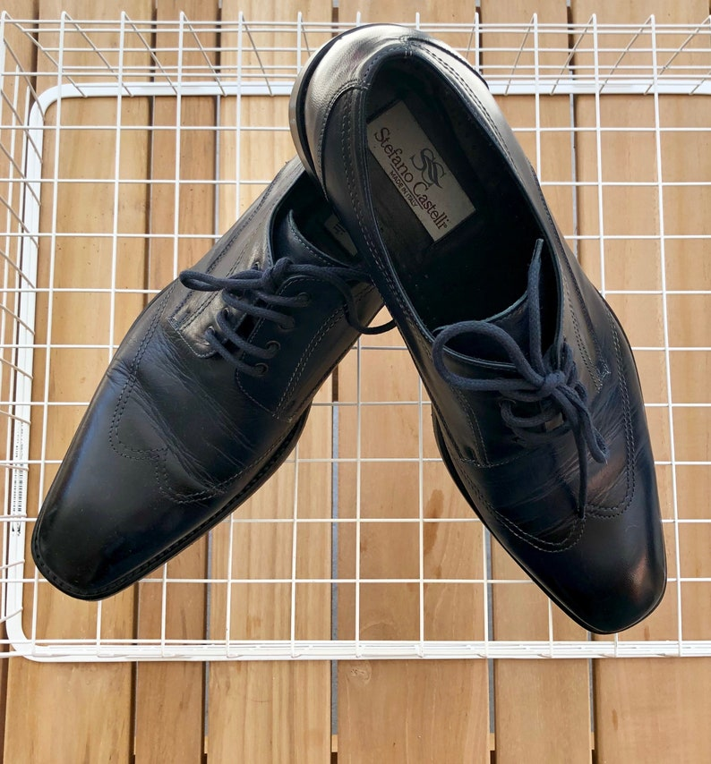 4410-10.5 Mens Navy Blue OxfordLace Up Leather Shoes by Stefano Castelli Italy Sz