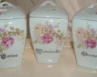 Storage jars with roses
