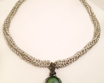 Chainmail Weave Necklace, Custom Jewelry, Custom Necklace