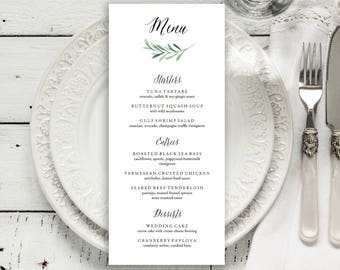 "Wedding Menu Printable, Menu Editale Template | Menu Printable, Reception Printable, Floral Branch, Dinner Menu 4x9""| No. EDN 5495"