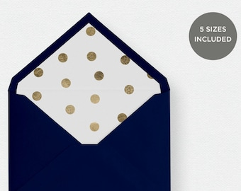 Envelope Liner Template | 5 Envelope Sizes Included Printable Instant Downloads | Gold Dots | No. EDN 5240
