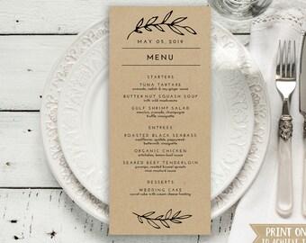 "Wedding Menu Printable, Menu Editale Template | Menu Printable, Reception Printable, Rustic Leaves Kraft , Dinner Menu 4x9""| No. EDN 5014"