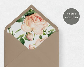 Envelope Liner Template | 5 Envelope Sizes Included Printable Instant Downloads | Floral | No. EDN 5239