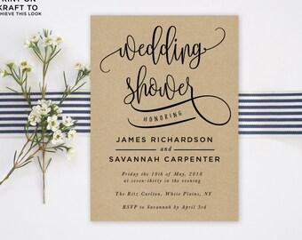 Wedding Shower Invitation Template | Editable Invitation Printable | Engagement Couples Shower Calligraphy Kraft Invite | No. PW 5346