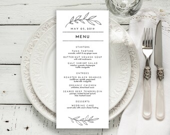 "Wedding Menu Printable, Menu Editale Template | Menu Printable, Reception Printable, Rustic SILVER Leaves, Menu 4x9""| No. EDN 5014C Silver"