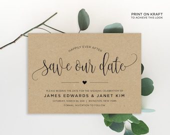 Save the Date Invitation Template | Editable Invitation Printable | Save the Date Invite Calligraphy, Kraft | No. EDN 5333