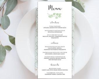 "Wedding Menu Printable, Menu Editale Template | Menu Printable, Reception Printable, Green Branch, Dinner Menu 4x9""| No. EDN 5224"