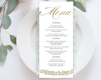 "Wedding Menu Printable, Menu Editale Template | Menu Printable, Reception Printable, Gold Hand lettered, Dinner Menu 4x9""| No. EDN 5098"