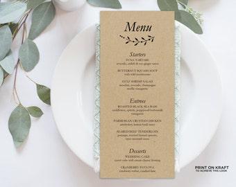 Wedding Menu Printable, Menu Editable Template | Menu Printable, Reception Printable, Rustic Branch, Dinner Menu Kraft | No. EDN 5217