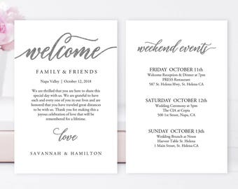 """Wedding Welcome Bag Note   Wedding, Calligraphy, Welcome Bag Letter, Printable, Custom, Instant Download, Editable 4x6"""" No. EDN 5208B Silver"""