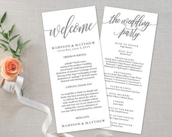 Wedding Program Editable Template | Program Printable, Ceremony Printable|Silver Rustic Calligrapy Hand Lettered| 4x9"