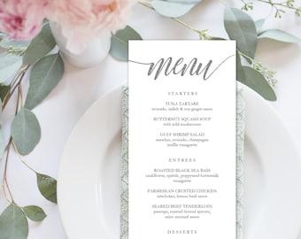 "Wedding Menu Printable, Menu Editale Template | Menu Printable, Reception Printable, Rustic SILVER, Dinner Menu 4x9""| No. EDN 5184B Silver"