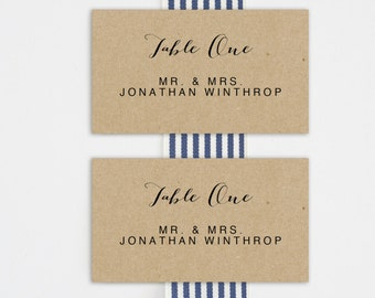 Printable Place Card Template, Wedding Place Cards, Seating Cards,  Printable Template |  Calligraphy, Kraft | No. EDN 5107