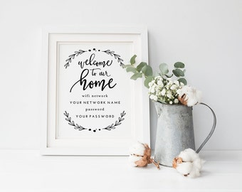picture about Free Printable Wifi Password Template named Wifi pword Etsy