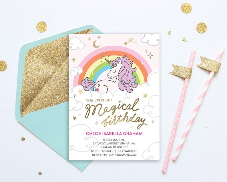 Birthday Party Unicorn Invitation Template