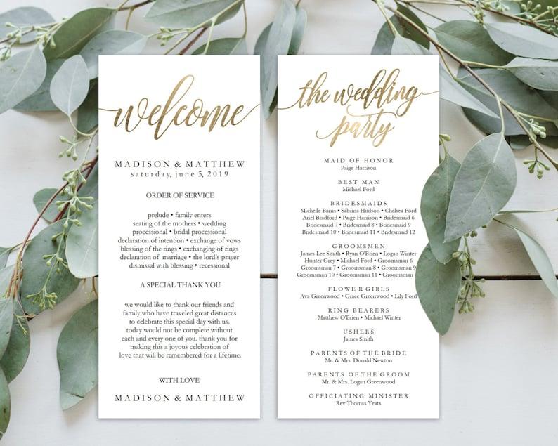 Wedding Program Editable Template  Printable Wedding image 0